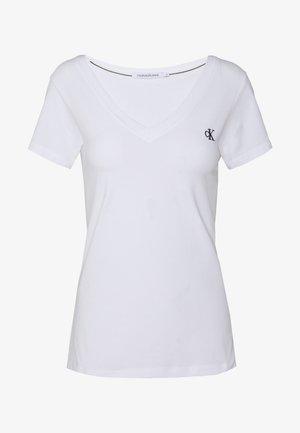 EMBROIDERY V NECK - T-shirt basic - bright white