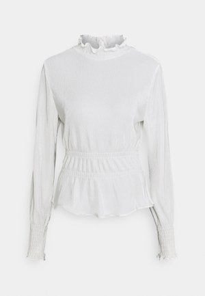 PLEATED HIGH NECK BLOUSE - Langærmede T-shirts - white