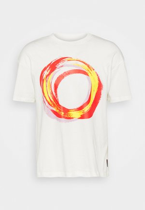 SHAPES BOX GRAPHIC TEE UNISEX - Print T-shirt - egret