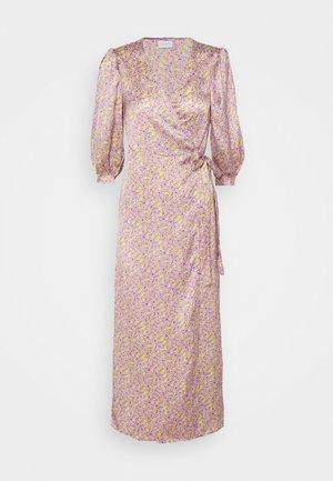 VIDOLETTA LILAC 3/4 WRAP DRESS - Day dress - celery/lilac flower