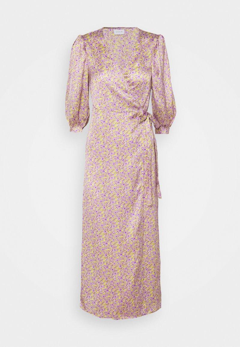 VILA PETITE - VIDOLETTA LILAC 3/4 WRAP DRESS - Kjole - celery/lilac flower