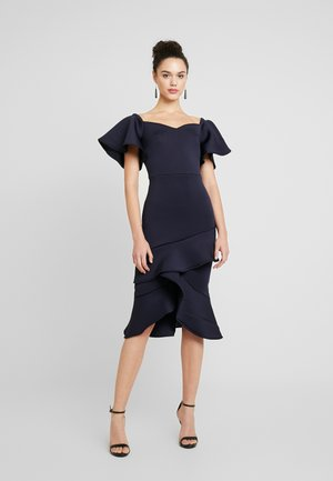 OFF THE SHOULDER FRILL BODYCON - Cocktail dress / Party dress - navy