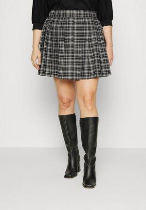 PLEATED CHECK TENNIS SKIRT - Mini skirt - black