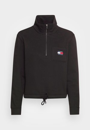 BADGE QUARTER ZIP - Sweatshirt - black