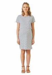 Vertbaudet - Jersey dress - weiß/blau gestreift - 1