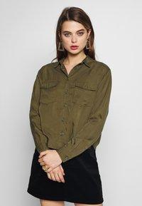 New Look - PATCH POCKET CROP - Button-down blouse - dark khaki - 0