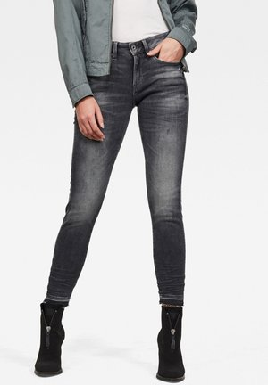 3301 MID SKINNY RIPPED ANKLE - Jeans Skinny Fit - black