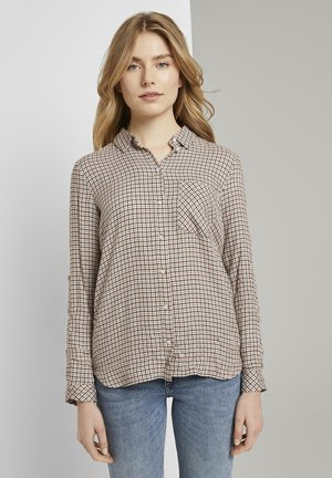 MIT TURN-UPS - Button-down blouse - camel small check