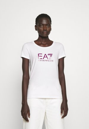 T-Shirt print - white/boysenberry