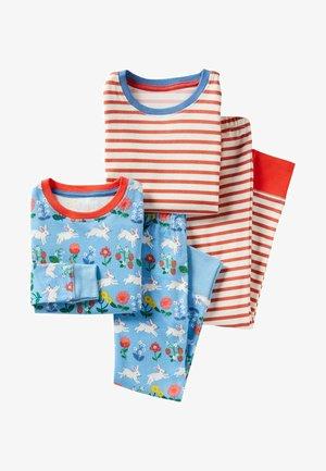 2 PACK - Pyjama set - blau/ häschen/korallenrot/ gestreift