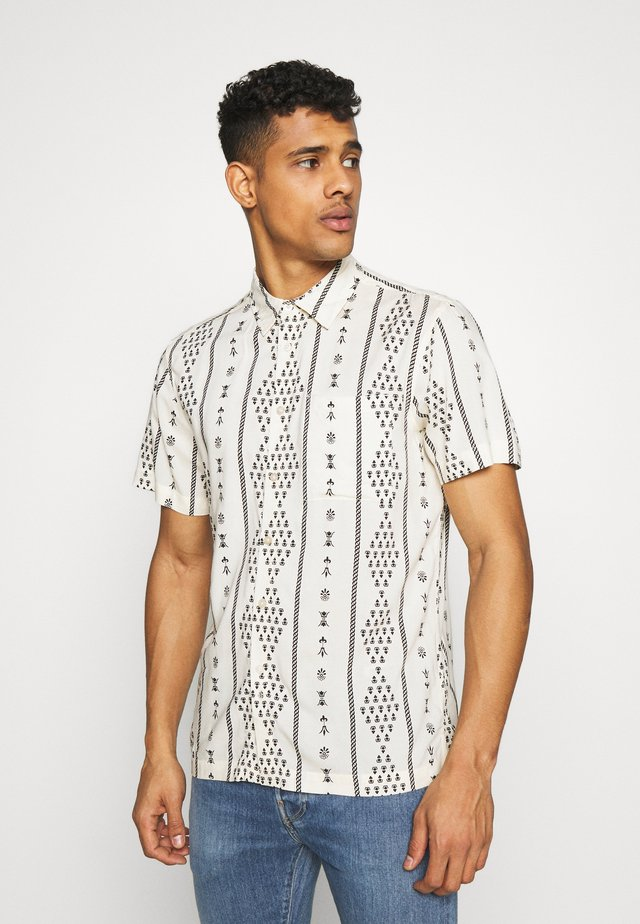 BUTTON UP SHORT SLEEVE FOLK PRINT - Shirt - ivory
