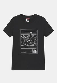 The North Face - YOUTH MOUNTAIN TEE UNISEX - Printtipaita - black/white - 0