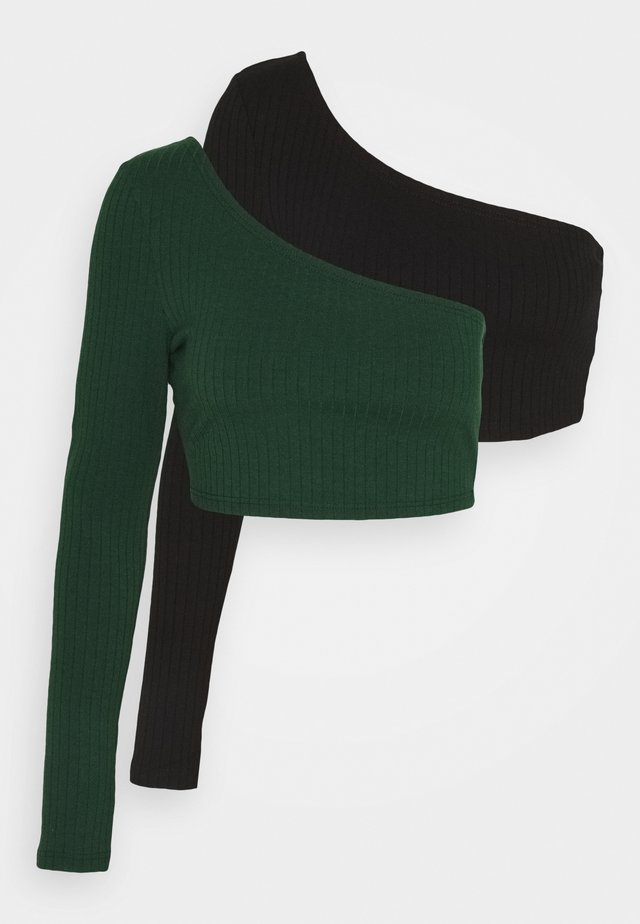 CROP ASYMMETRIC ONE SLEEVE 2 PACK - Bluzka z długim rękawem - black / forest green