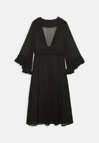 Simply Be - RUFFLE FRONT KIMONO - Lehká bunda - black - 1
