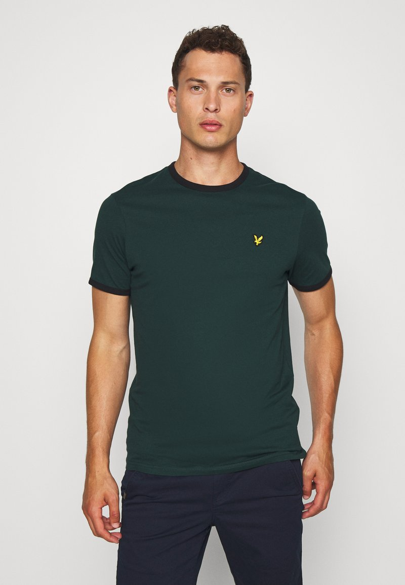 Lyle & Scott - RINGER TEE - Basic T-shirt - jade green/black