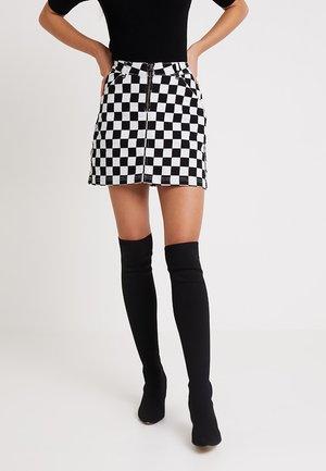 LADIES CHECK TWILL SKIRT - Denim skirt - black
