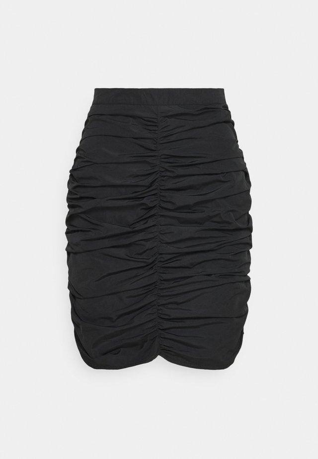 RUCHED SKIRT  - Minigonna - black