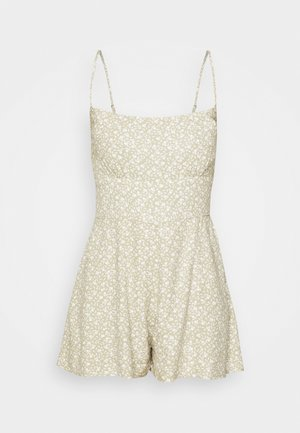 FRONT RUCHED ROMPER  - Mono - green leaf print