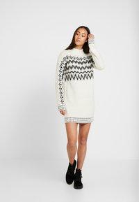 Miss Selfridge - FAIRISLE DRESS - Jumper dress - cream/black - 1