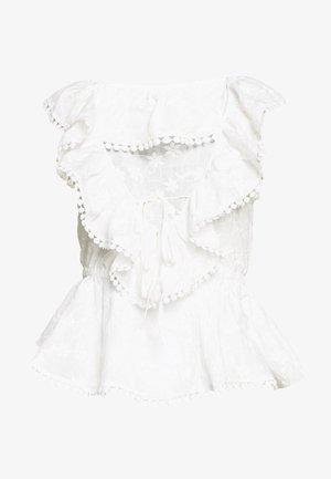 BRODERIE RUFFLE FRONT - Blouse - white