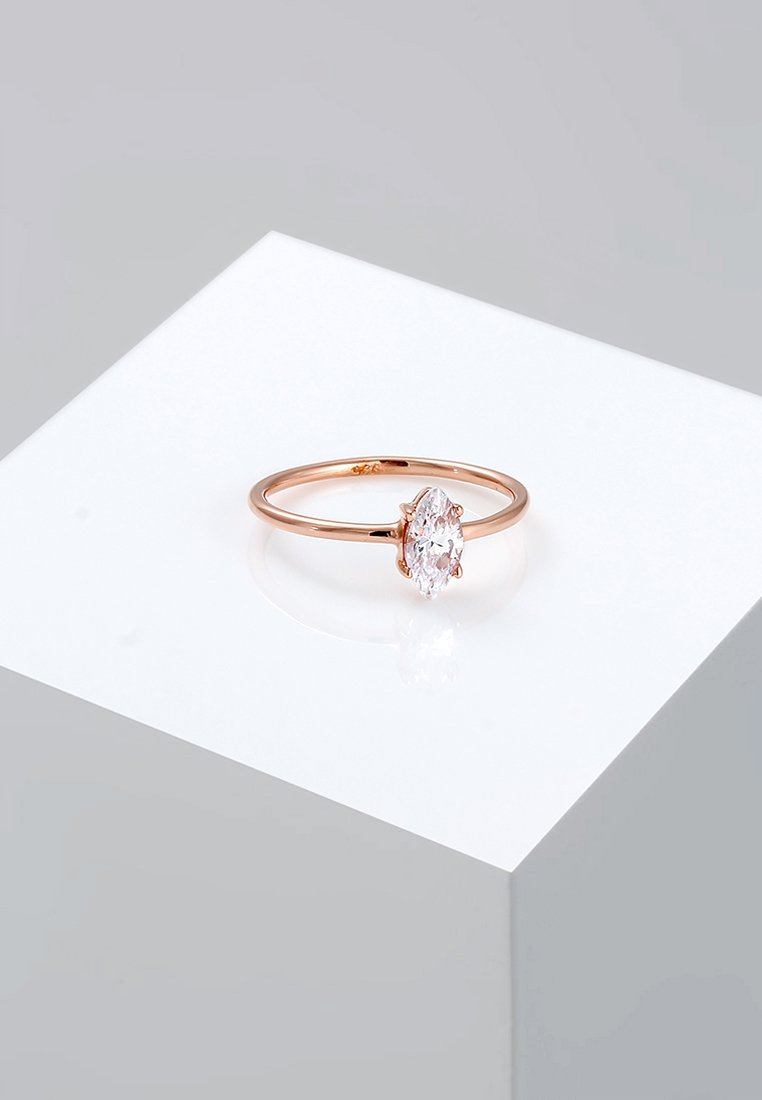 Elli - MARQUISE - Ring - rosegold-coloured/white