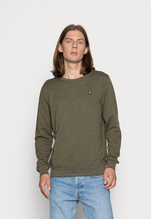 BASIC BADGE GOTS VEGAN - Sweater - green melange