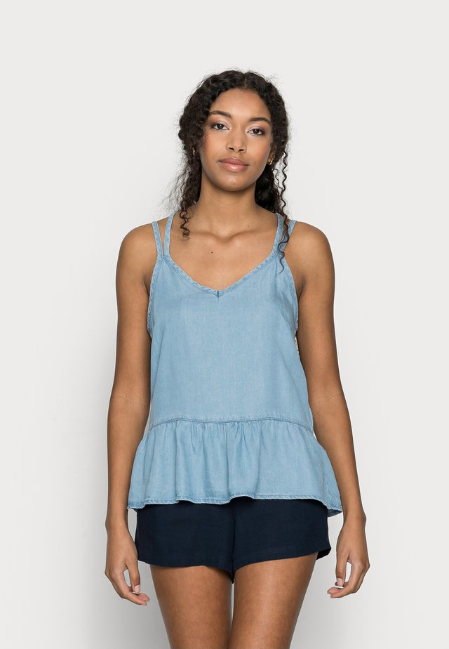 VMVIVIANA FLOUNCE  SINGLET - Débardeur - light blue denim