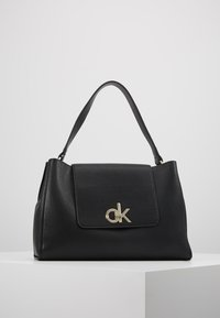 Calvin Klein - LOCK TOP HANDLE SATCHEL - Handbag - black - 0