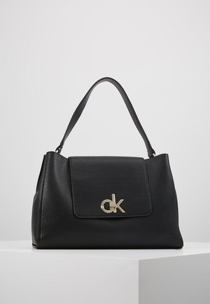 LOCK TOP HANDLE SATCHEL - Handbag - black
