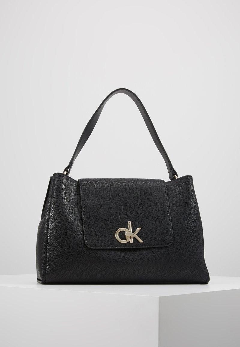 Calvin Klein - LOCK TOP HANDLE SATCHEL - Handbag - black