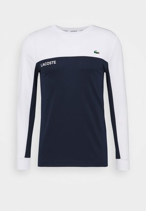 TENNIS BLOCK - Sports shirt - white/navy blue