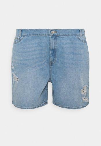 NMLOTTIE SKATE - Denim shorts - light blue denim