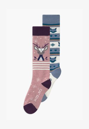 YOUTH UNISEX 2 PACK  - Knestrømper - snow fox blue/winsome orchid
