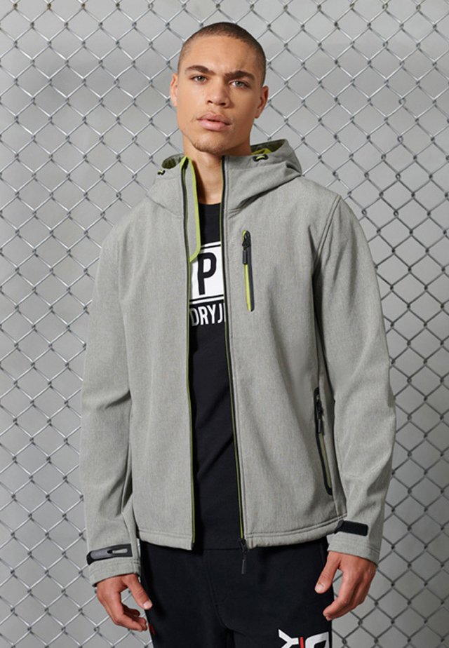 HOODED - Soft shell jacket - grey marl