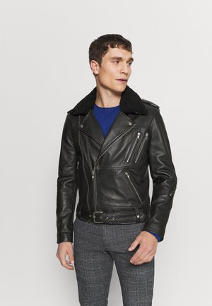 GENOA - Leather jacket - black