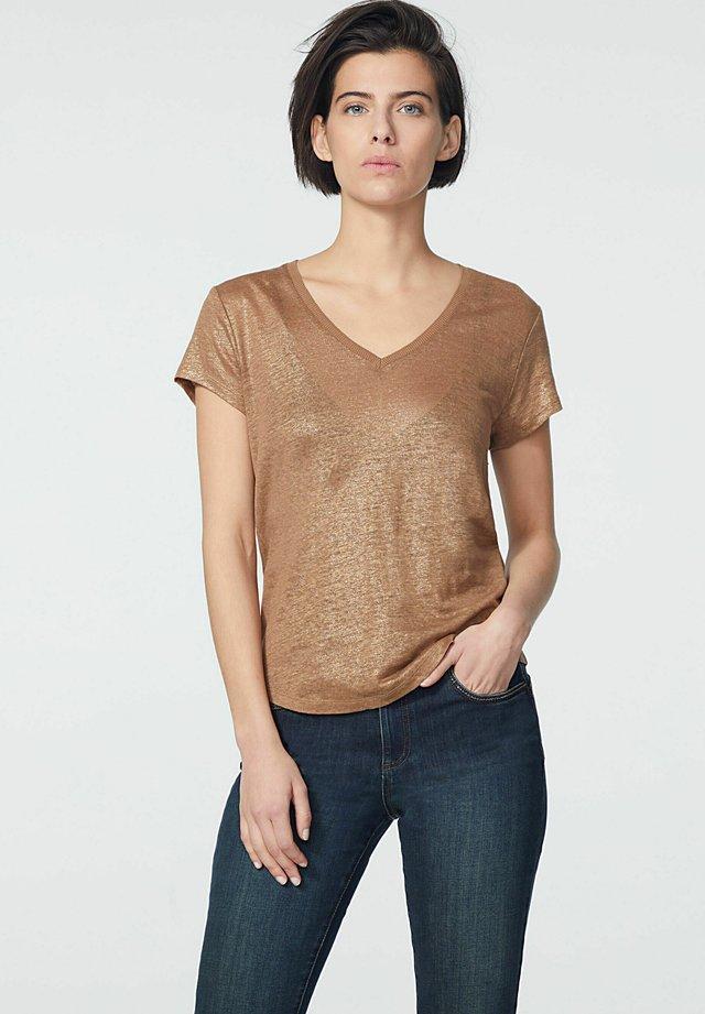 Print T-shirt - camel clair