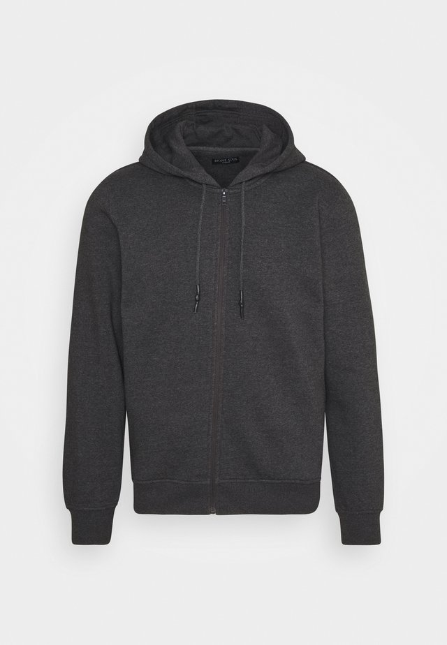 Zip-up hoodie - dark charcoal marl