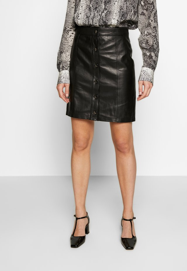 ANGIE SKIRT - Leather skirt - black
