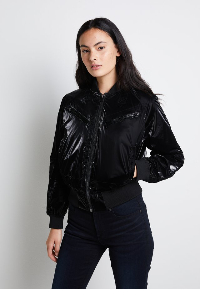 ZIP POCKET CROPPED - Kurtka Bomber - pearl black