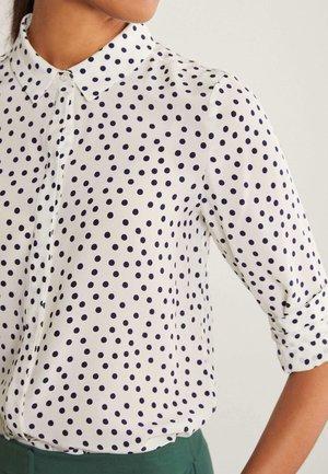 Button-down blouse - naturweiß/navy, getupft