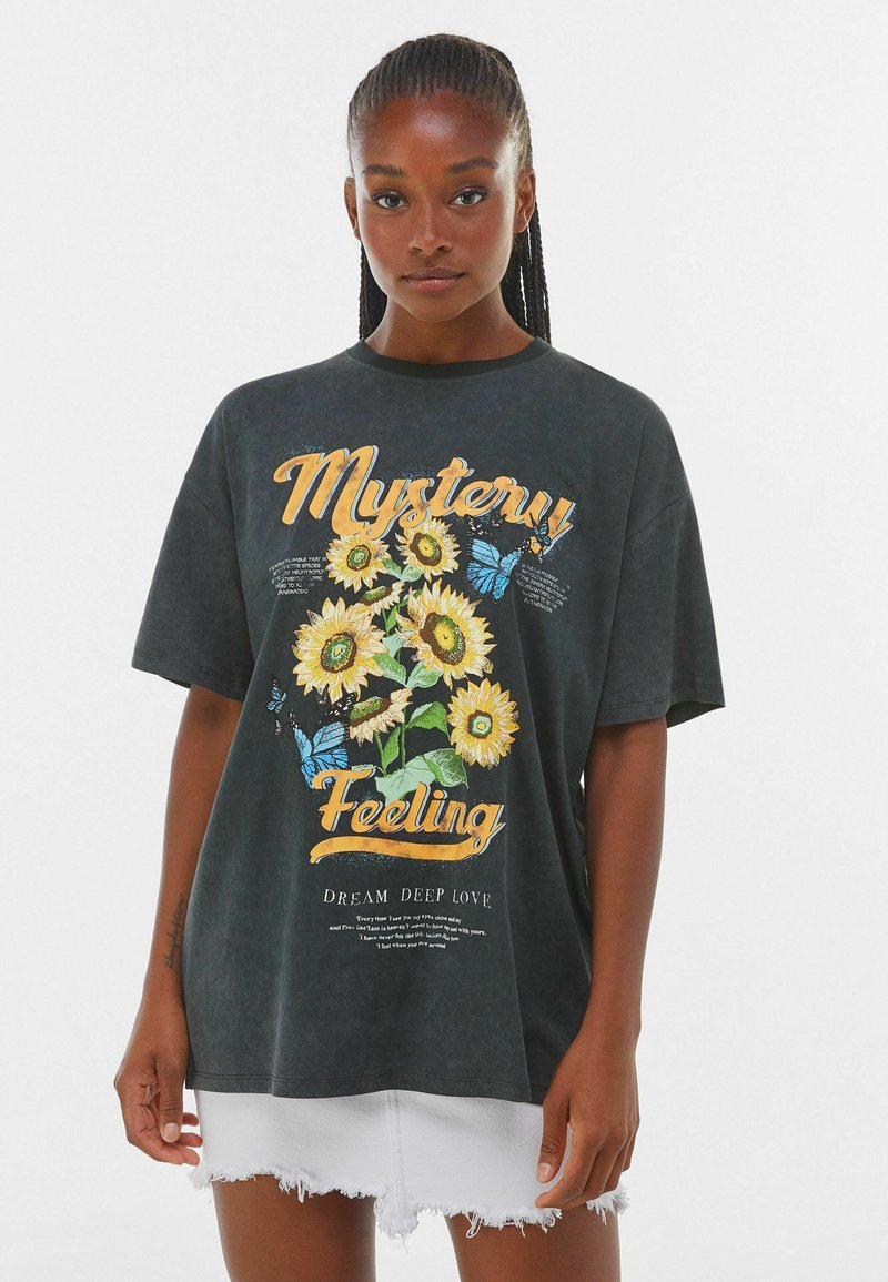 Bershka - MIT PRINT  - Print T-shirt - dark grey