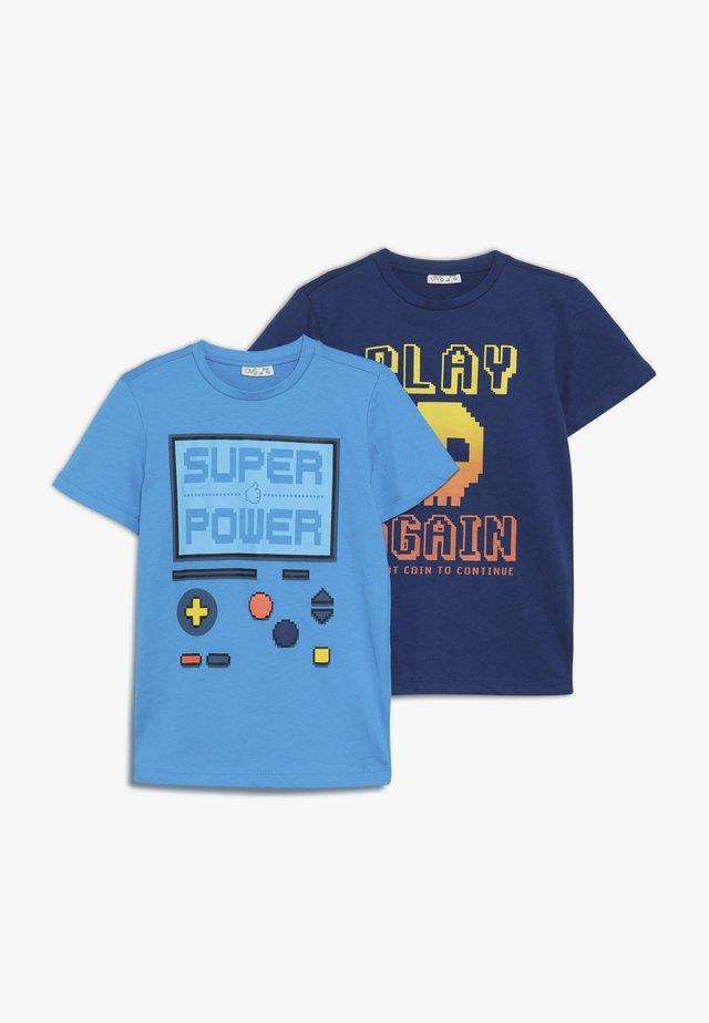 2 PACK - T-shirt print - navy peony/blue