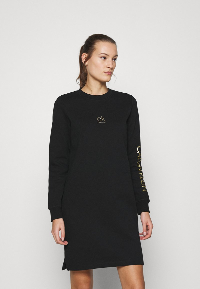 Calvin Klein - LOGO DRESS - Day dress - black