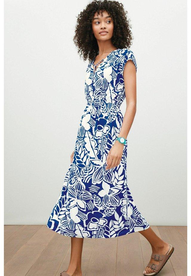TIE NECK - Korte jurk - blue