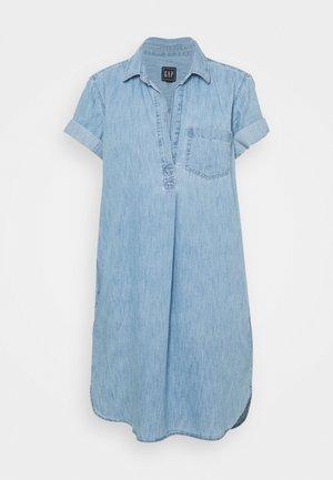 POPOVER DRESS - Denim dress - light indigo