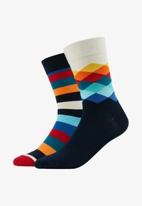 Happy Socks - FADED DIAMOND STRIPE 2 PACK - Socks - red/black - 1