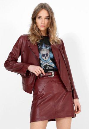 Leather jacket - burgundy