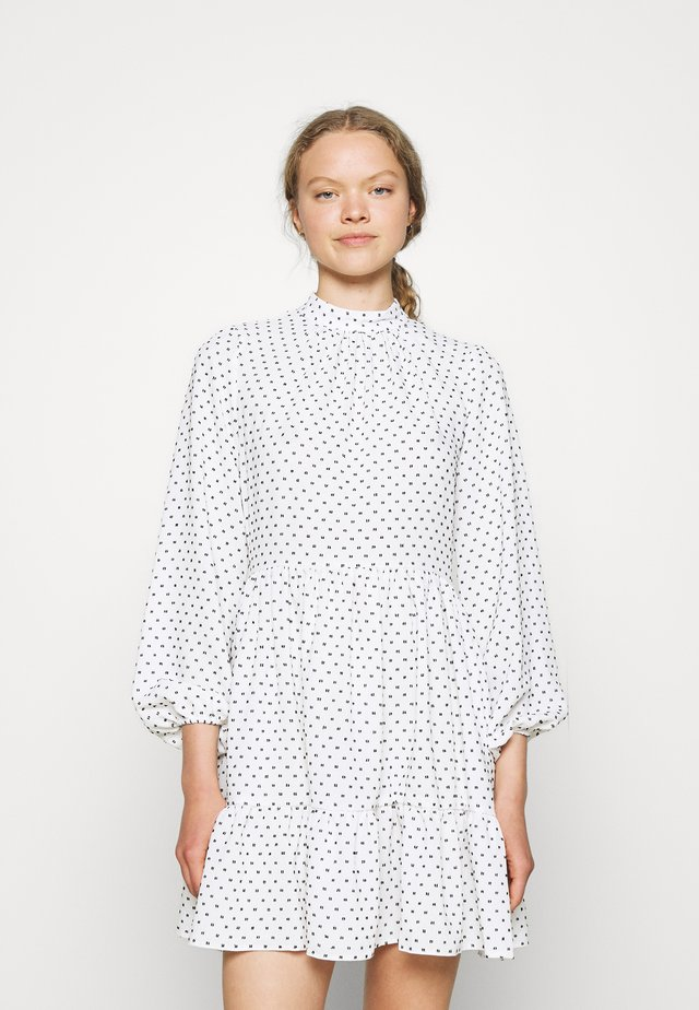 HIGH COLLAR MINI DRESS - Korte jurk - ivory