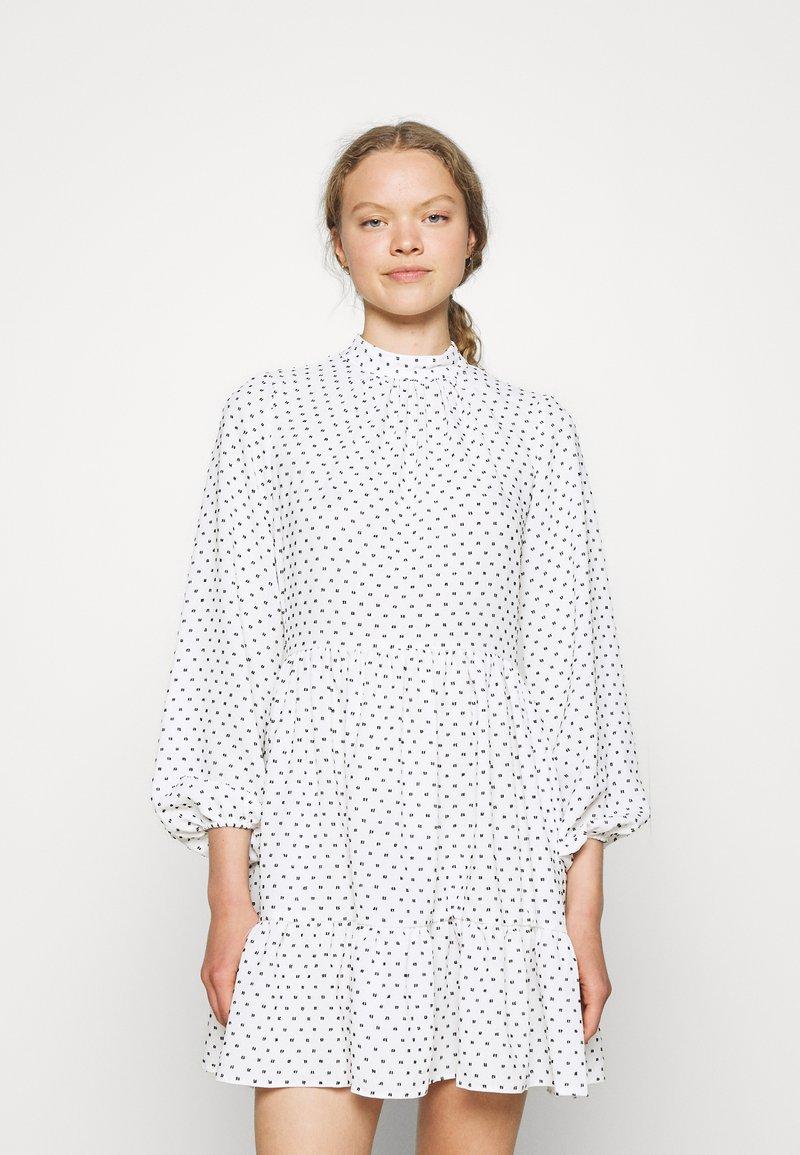 Closet - HIGH COLLAR MINI DRESS - Day dress - ivory