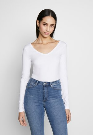 BASIC LONG SLEEVE TOP - Top s dlouhým rukávem - white
